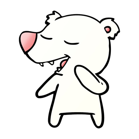 Polar bear cartoon singing illustration on white background.