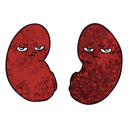 Cartoon irritated kidneys illustration on white background.