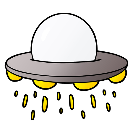 Cartoon flying saucer illustration on white background.