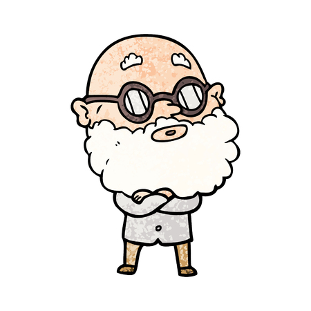 Cartoon curious man with beard and glasses illustration on white background.
