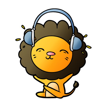 Cartoon lion listening to music illustration on white background.