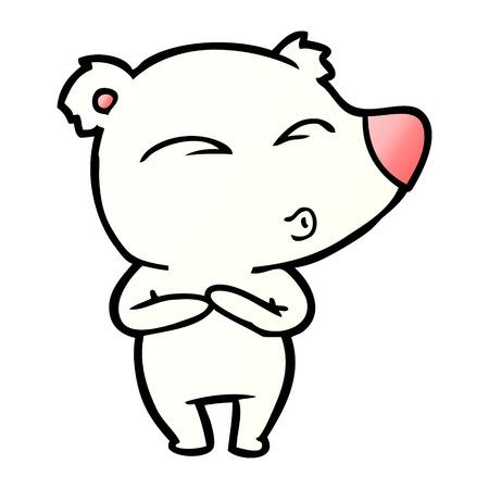 Polar bear cartoon waiting illustration on white background.