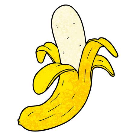 Cartoon banana illustration on white background.