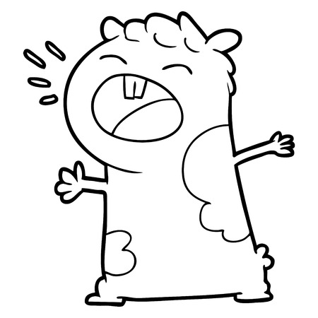 Cartoon gerbil screaming illustration on white background.