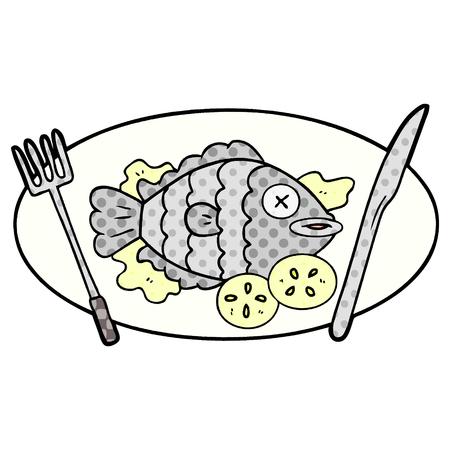 Cooked fish cartoon illustration on white background.