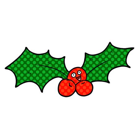 Cartoon Christmas holly illustration on white background. Ilustrace