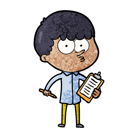 Cartoon curious boy taking notes illustration on white background. Vectores
