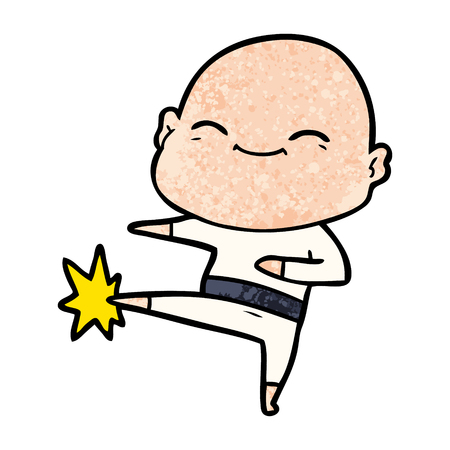 Happy cartoon bald man kicking illustration on white background. Çizim