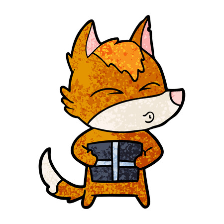 Fox cartoon character with present whistling illustration on white background. Ilustração