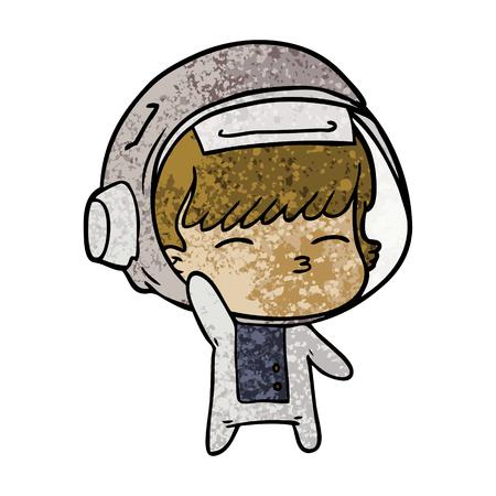 cartoon curious astronaut waving