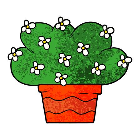 白い背景に漫画の植物のイラスト。  イラスト・ベクター素材