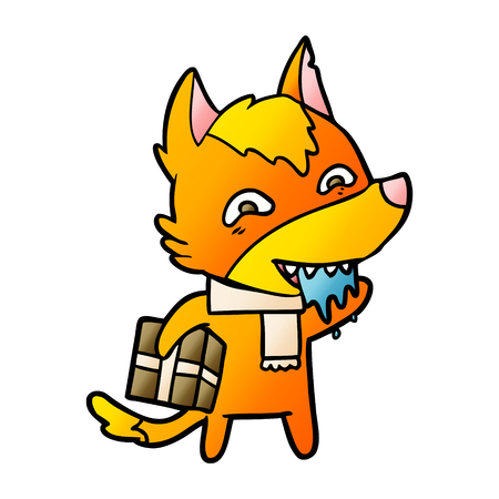 Fox cartoon character hungry illustration on white background.