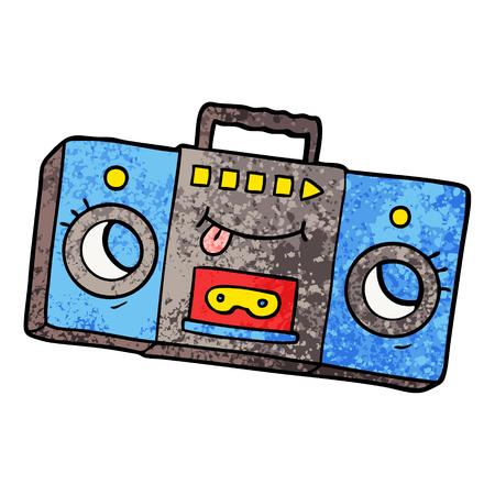 白い背景に舌のイラストを持つ漫画のレトロなカセットテーププレーヤー。