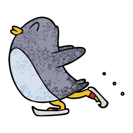 cartoon penguin ice skating