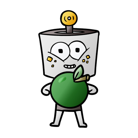 happy cartoon robot with apple Illustration