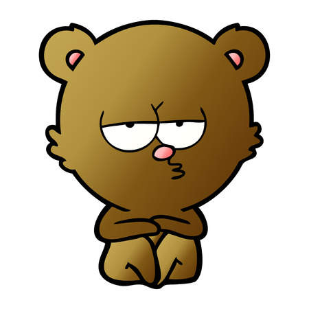 Bear cartoon character waiting illustration on white background. Reklamní fotografie - 96524652