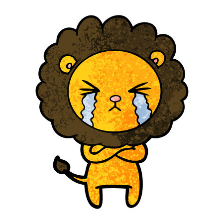 Cartoon crying lion with crossed arms