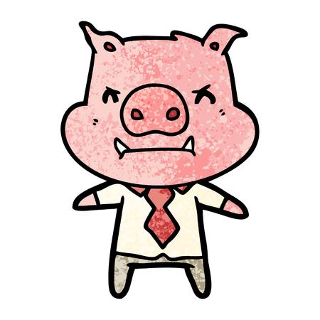 Angry cartoon pig boss Foto de archivo - 96519928