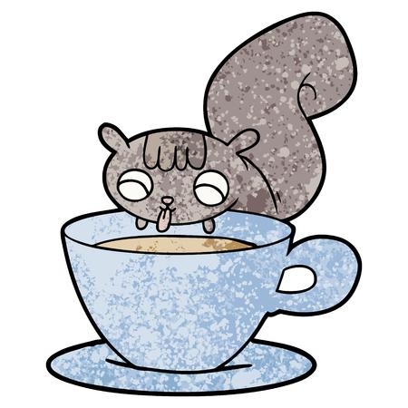 Cartoon squirrel drinking tea