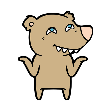 Contented bear cartoon character 向量圖像