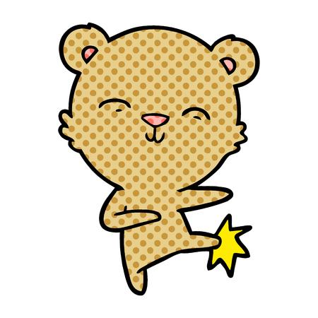 Bear cartoon character kicking  イラスト・ベクター素材