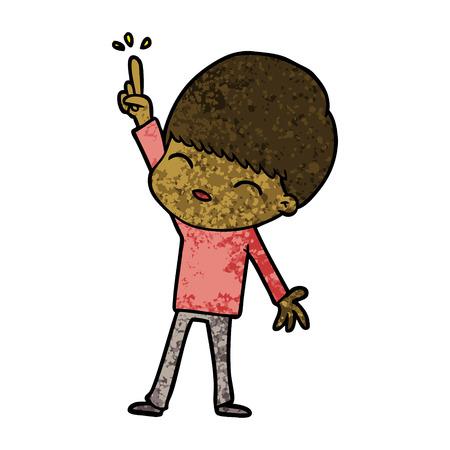 happy cartoon boy pointing upward