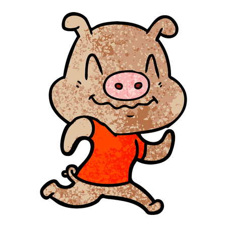 Running cartoon pig illustration.