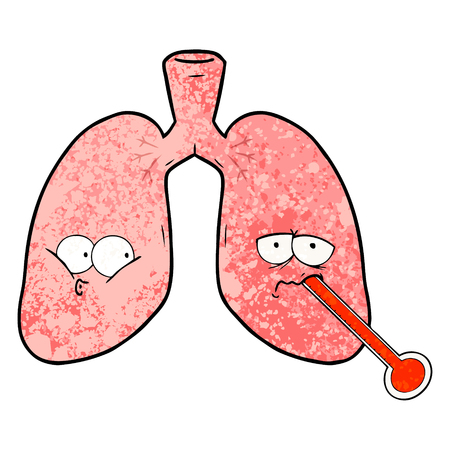 cartoon unhealthy lungs Illustration