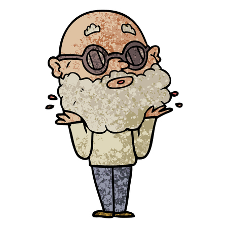 Cartoon curious man with beard and sunglasses illustration on white background.
