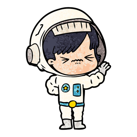 Cartoon astronaut woman eye closed illustration on white background. Illustration