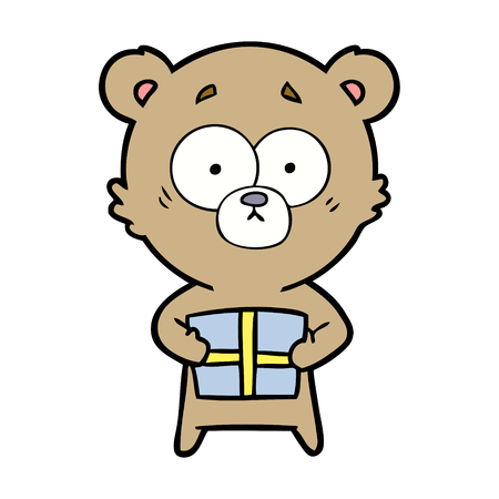 bear cartoon chraracter with present