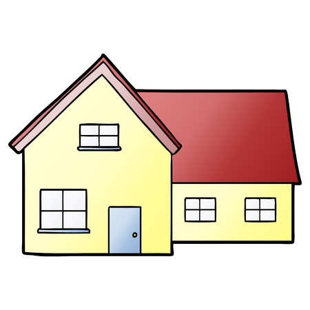 cartoon yellow house with red roof