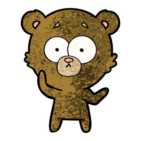 Surprised bear cartoon illustration on white background.