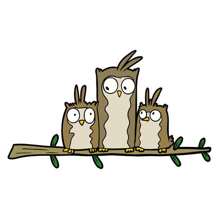 owl family cartoon illustration