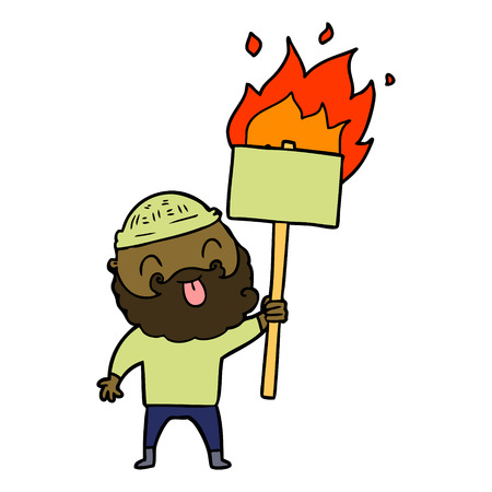 bearded protester cartoon with burning sign Stock Vector - 96512186
