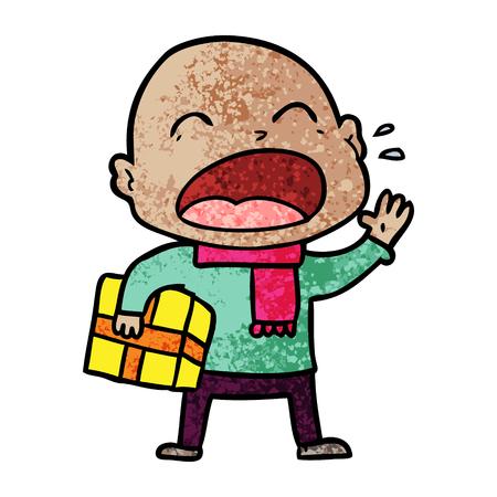 cartoon shouting bald man with present Illusztráció