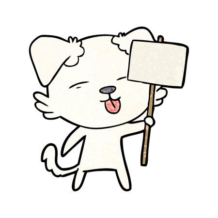 cartoon dog holding sign post Ilustração