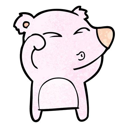 cartoon tired bear rubbing eyes Illustration