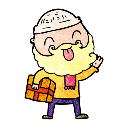 man with beard carrying christmas present