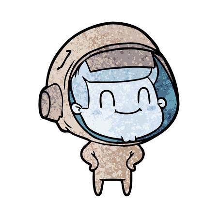 happy cartoon astronaut man
