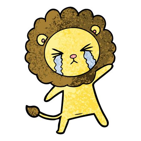 Cartoon crying lion Ilustração