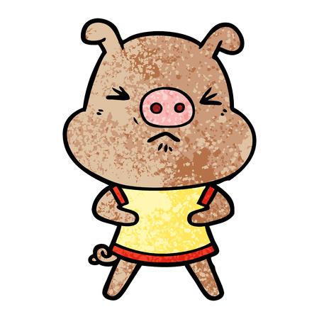 cartoon angry pig wearing tee shirt