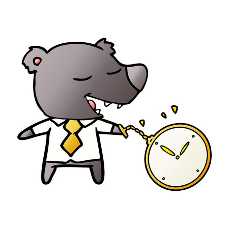 cartoon bear wearing shirt and tie holding watch