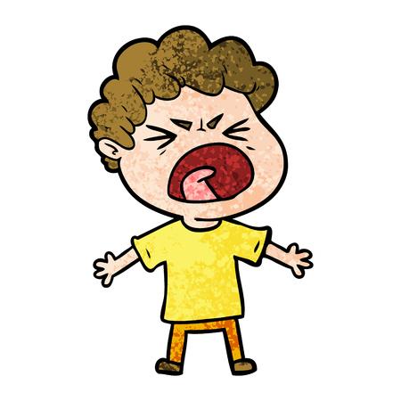 cartoon furious man Stock Illustratie