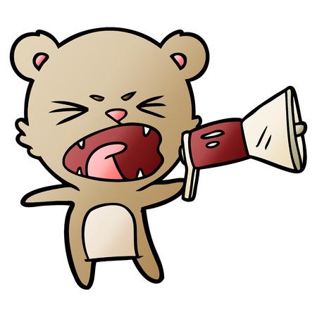 angry cartoon bear shouting into megaphone Illustration