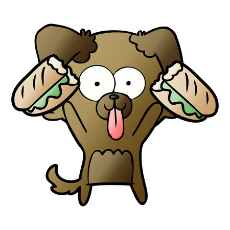 cartoon dog with tongue sticking out and sandwich Ilustracja