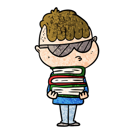 cartoon boy wearing sunglasses with stack of books