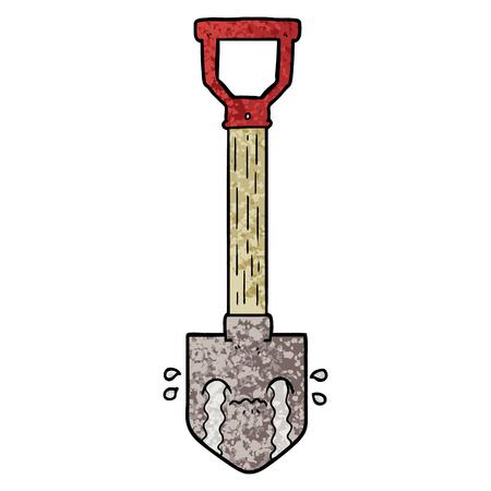 cartoon crying shovel Vector illustration.