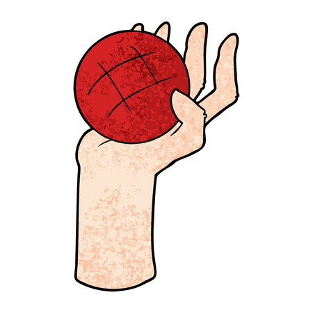 cartoon hand throwing ball Ilustrace