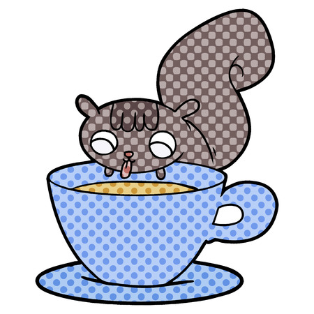 cartoon squirrel drinking tea Ilustracja